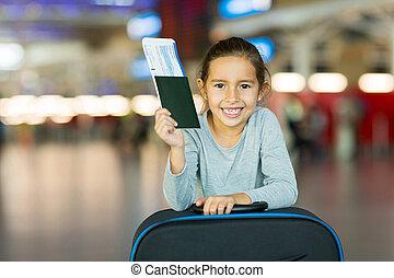 embarcar, pequeno, segurando, aeroporto, passaporte,...