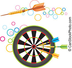 Darts with dartboard - Colorful illustration of darts flying...