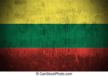 grunge flag of Lithuania