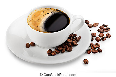 Coffee cup and beans on a white background. Clipping Path