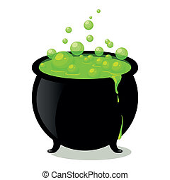 Vector Witchs Cauldron - Vector Illustration of a Witchs...