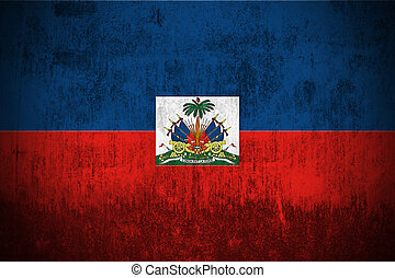 grunge flag of Haiti - weathered flag of Haiti, paper...