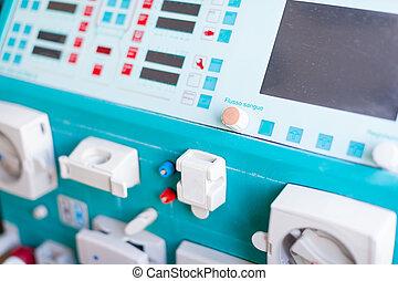 diálisis, máquina, panel