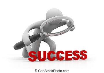 Man magnifying the success