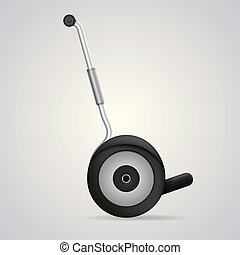 Vector illustration of segway a side view. - Gray steel...
