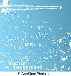 Background with plane and clouds. Vector