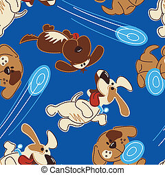Puppy dogs playing in a seamless pattern .