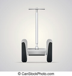 Vector illustration of segway a front view. - Gray steel...
