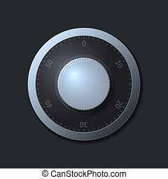 Combination lock wheel on dark background.  illustration