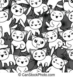 Seamless halloween kawaii cartoon pattern with cute cats