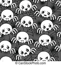 Seamless halloween kawaii cartoon pattern with cute spiders