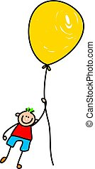 balloon boy - A cute little boy floating away with a giant...