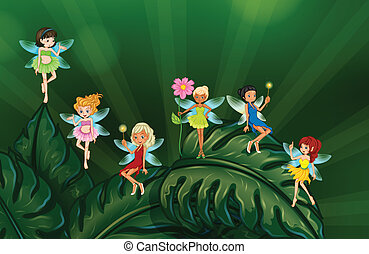 Cute fairies - Illustration of many fairies on leaves
