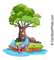 A small island - Illustration of a small island with tree...