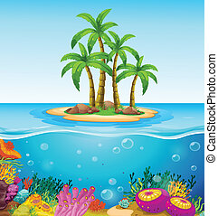 A beautiful island in the middle of the sea - Illustration...