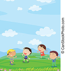 Kids playing - Illustration of kids playing outside