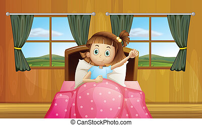 Girl in bed - Illustration of a girl waking up in bed