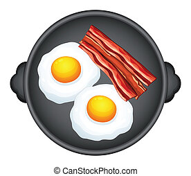 Egg and becon - Illustration of egg and becons in a pan