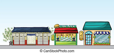 Different stores - Illustration of the different stores