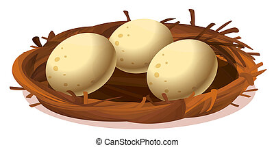 A nest with three eggs - Illustration of a nest with three...