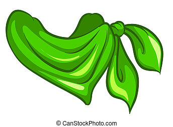 A green scarf - Illustration of a green scarf on a white...
