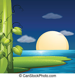 Full moon - Illustration of a full moon rising