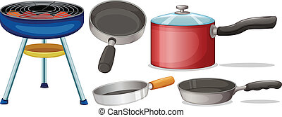 Cooking equipment - Illustration of different cooking...