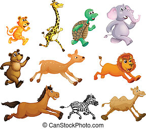 Running animals - Illustration of many animals running