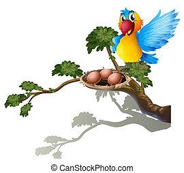 A bird watching the nest - Illustration of a bird watching...