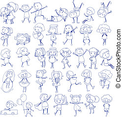 Doodle design of people doing different activities