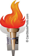 Flame and torch - Illustration of a flame torch