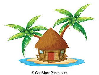 An island with a nipa hut - Illustration of an island with a...