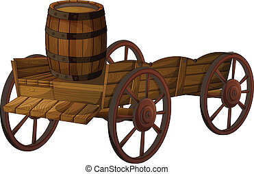 barrel and wagon - Illustration of a barrel on a wagon