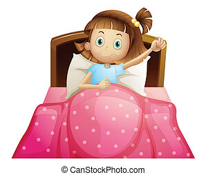 Girl in bed - Illustration of a girl in bed