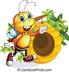 A bee near the beehive - Illustration of a bee near the...