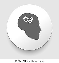 Silhouette of man head with gears