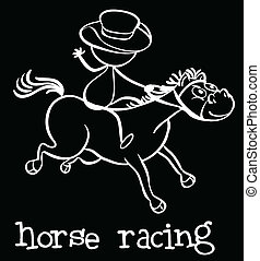 Horse racing - Illustration of a stickman riding a horse