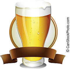 Beer Lable - Illustration of a glass of beer with lable