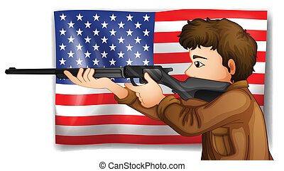 USA hunter - Illustration of an American hunter