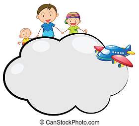 An empty cloud callout with a family and a plane