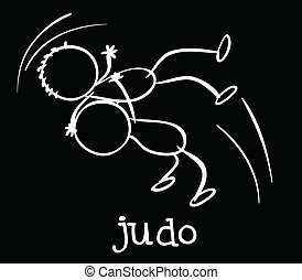 Judo - Illustration of two stickmen playing judo