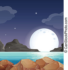 Moon landscape - Illustration of a moon setting