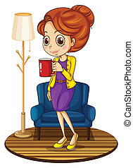 A woman near the blue couch holding a red mug - Illustration...