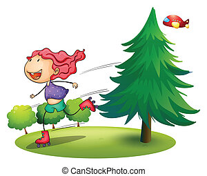 A girl rollerskating near the pine tree - Illustration of a...