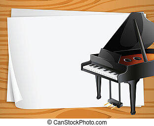 Piano Banner - Illustration of a piano on the side of a...