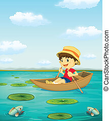 Boy on boat - Illustration of a boat rowing a boat