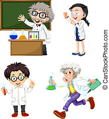 Four chemists - Illustration of the four chemists on a white...