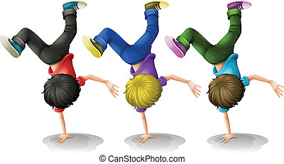 Boys Up side down - Illustration of three boys doing a...