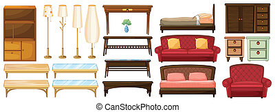 Different furnitures - Illustration of the different...