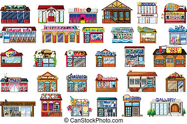Different buildings - Illustration of the different...